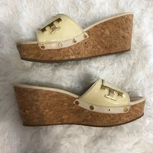 Tory Burch Cream Leather Cork Wedge Slides